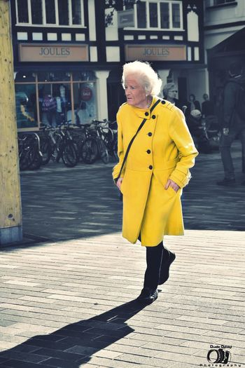 Grandma says isn't about the brand is about the style 😊 Full Length Yellow One Person Lifestyles Person Photography Streetphotography Monochrome Photography LONDON❤ Mom Grandmom Oldlady Style Fashion Walking Kingston Upon Thames City EyeEm Best Shots