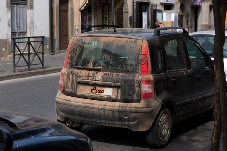 italy in a nutshell Dirty Dirty Window Dirty Car Car Car Point Of View Back Graffiti Italy Backlight Town Small Village Wash Me! City Car Vehicle
