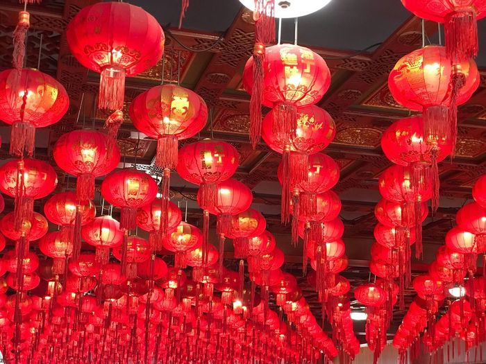 Lighting Equipment Red Decoration Chinese Lantern Hanging Lantern Chinese New Year No People Night Large Group Of Objects Festival Chinese Lantern Festival Holiday Illuminated Celebration Event Traditional Festival Outdoors
