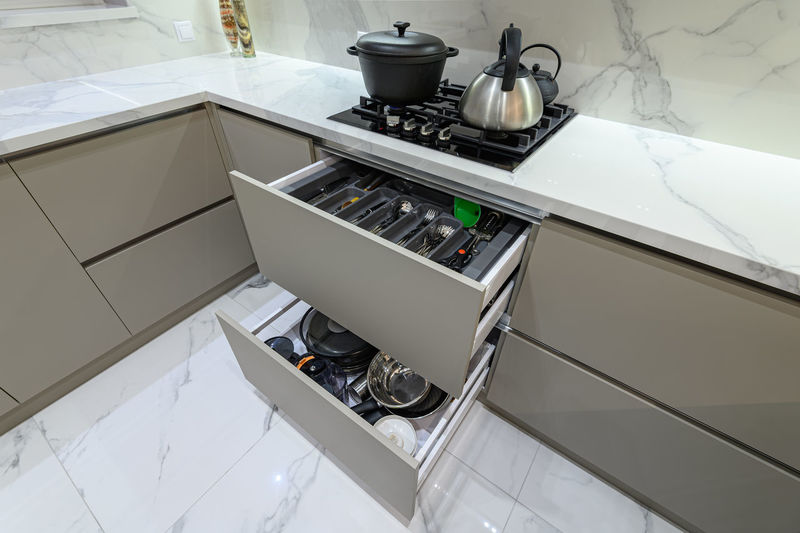 High angle view of kitchen at home