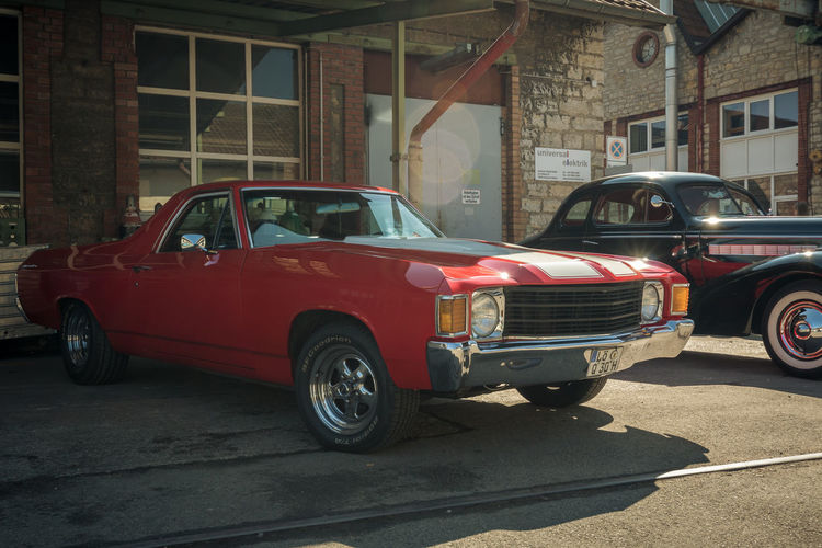 Chevrolet El Camino Car Motor Vehicle Mode Of Transportation Transportation Land Vehicle Architecture Retro Styled City Built Structure Vintage Car Day Building Exterior Street Red Stationary Outdoors No People Parking Nature Garage Chevrolet El Camino