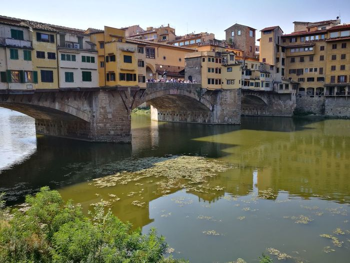 Ponte Vecchio - Firenze Italy Riverside Ancient Ancient Wall Ancient Architecture Sun Community Arno  Arno River River View Riverside Bridge No Filter Old Bridge Cityscape Water Clear Sky Reflection Golf Club Apartment City Sky Architecture Arch Bridge Old Town Bridge - Man Made Structure Arch River Reflection Lake