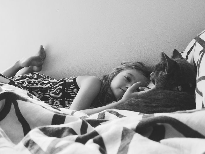 Hanging Out Cat Girl Childhood Black And White Love Candid Photography