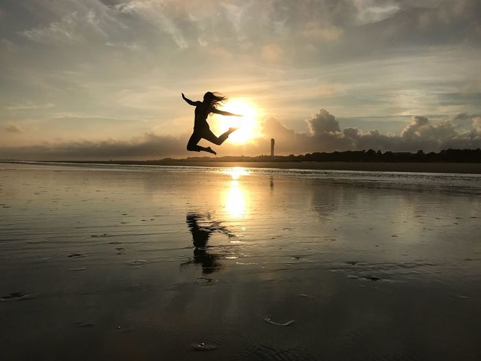 No filter Jump Me Ocean USA Sky Water Silhouette Sunset Beach Land Horizon Over Water Beauty In Nature