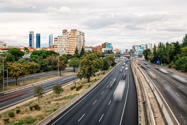 M30 Road in Madrid City City Life European  M30 Madrid 30 Motion Blur Traffic Transport Transportation Cityscapes High Angle View Highway Landscape Motion Motorway Roasted Speed Vehicles