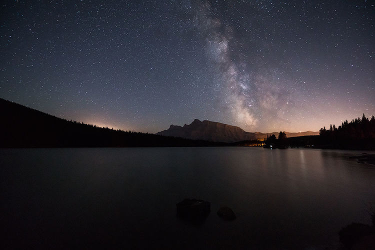 Way out there - Two Jack Lake, Banff National Park Banff  Banff National Park  Banff Alberta Astro Astronomy Astrophotography Clear Sky Constellation Galaxy Lake Landscape Milky Way Mountain Night Outdoors Photograph Photography Scenics Sky Star - Space Tranquil Scene Tranquility Two Jack Lake Water