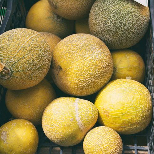 High Angle View Of Cantaloupes For Sale In Market