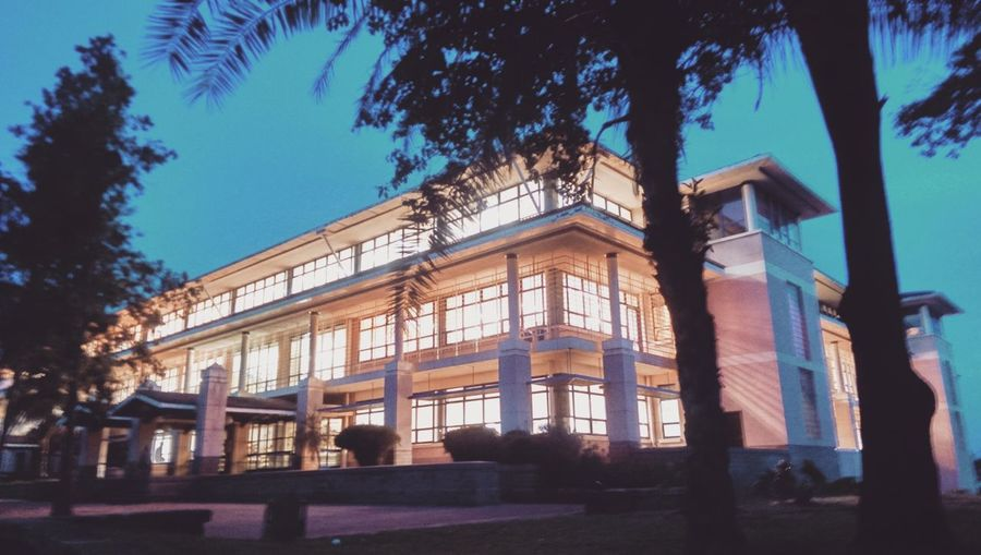 Buildings Sky And Clouds Kenya Library Nightphotography