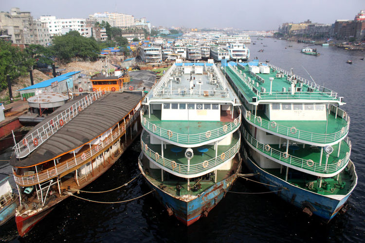 Dhaka Built Structure Cityscape Day Harbor High Angle View Landscape Mode Of Transportation Nature Nautical Vessel No People Outdoors Passenger Craft Port River Transportation Water Waterfront