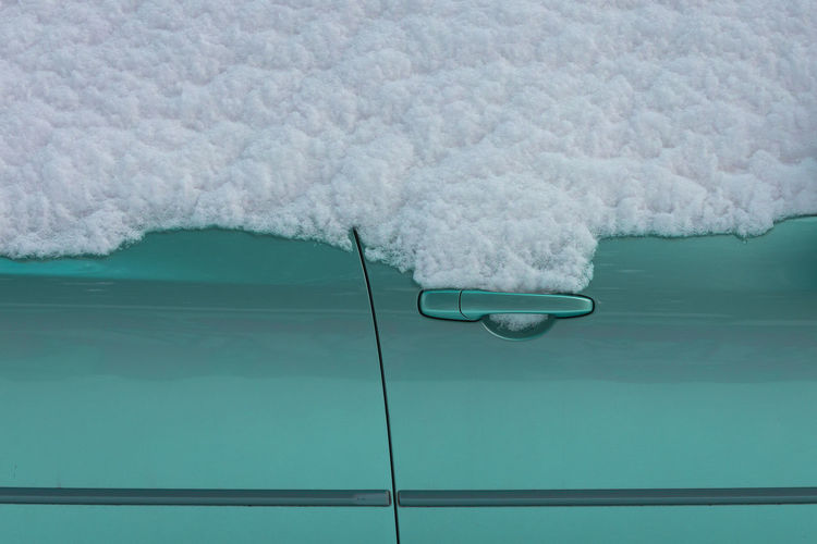 Close-up of snow on swimming pool