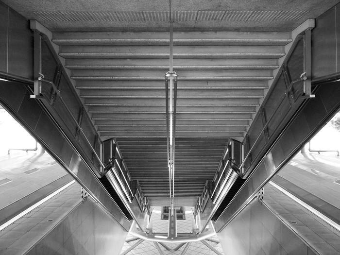 Upside down image of metallic steps