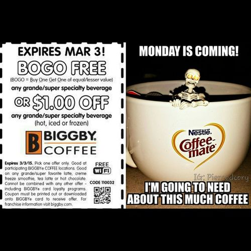 Bogo saves lives! Thank you for keeping me from murder. Monday Coffeeordeath Biggby Biggbycoffee
