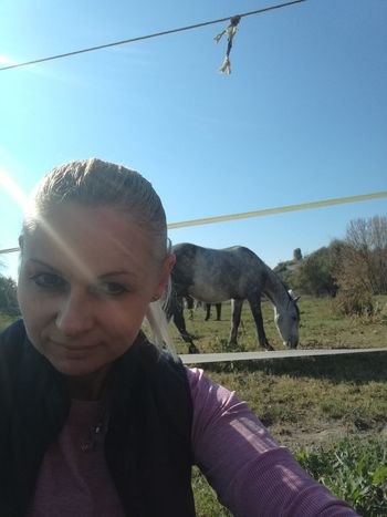 Horse Friends Smiling Happiness Sky Horse Stable Horseback Riding