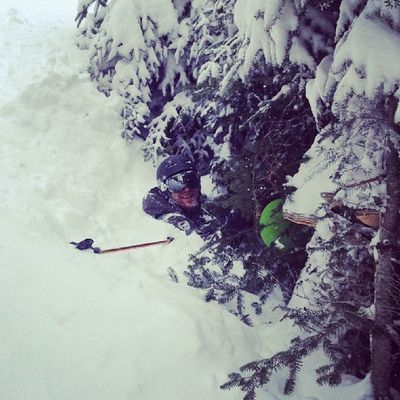 Photo credit @scottcrowder. Crashed into the trees and was stuck for about 10 min. Chest deep snow. Cannonmt Mittersill Glades