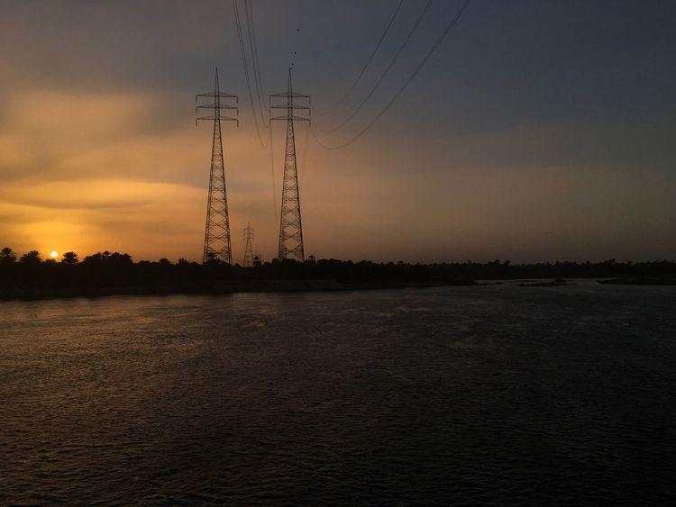 Electricity Pylon Sunset Nile River Cable Electricity  Landscape Egypt égypte The Architect - 2017 EyeEm Awards