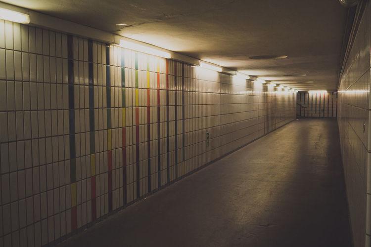 Empty underground walkway