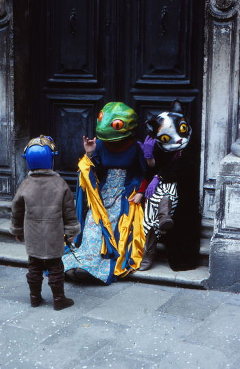 Art And Craft Cat Colors Of Carnival Creativity Frog Helm Little Boy Martian  Masks Perplexed Boy Real People Saying Hello Venice Carnival