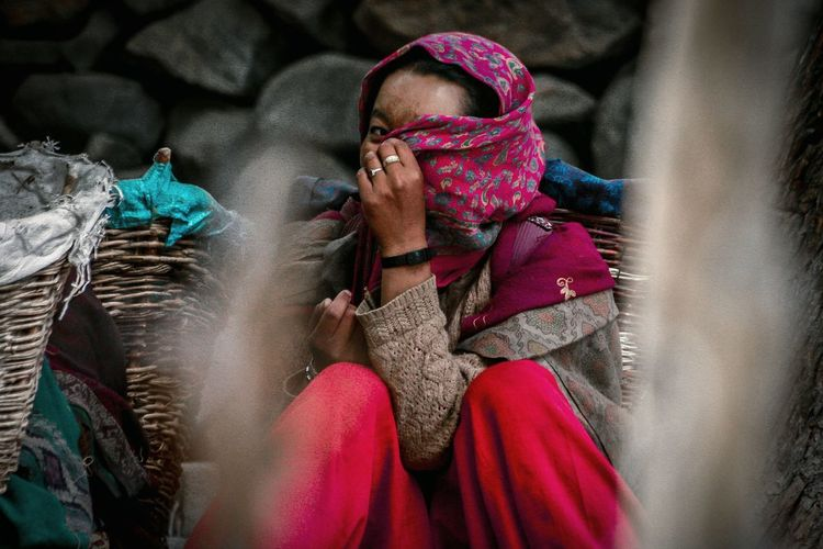 Shy, Embarrassment Covering EyeEm Selects People Travel Shy Shy Lady Red Muslim Turtuk Jammu And Kashmir Village Life Portrait Photography Shygirl Hiding Basket Red Scarf Young Women Red Women Portrait Warm Clothing Scarf Peeking