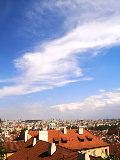 Contrast of Colors Prague Czech HDR Blue Sky Blue Sky Clouds Tiled Roof  Cityscape Roof Roof Tile Residential Building House Town City Sky Architecture Rooftop TOWNSCAPE Townhouse Old Town Housing Settlement Residential District The Architect - 2018 EyeEm Awards