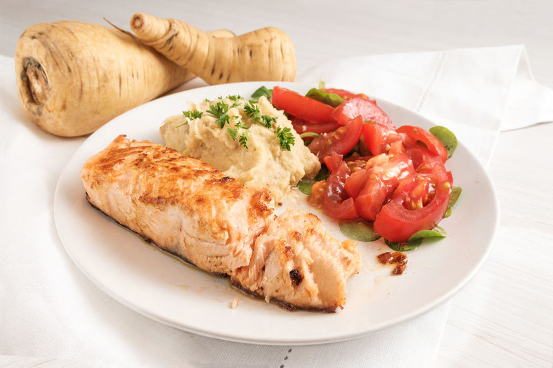 Diet Puree Fish Fried Healthy Low Carb Mash Parsnip Plate Salmon Tomatoes Vegetable