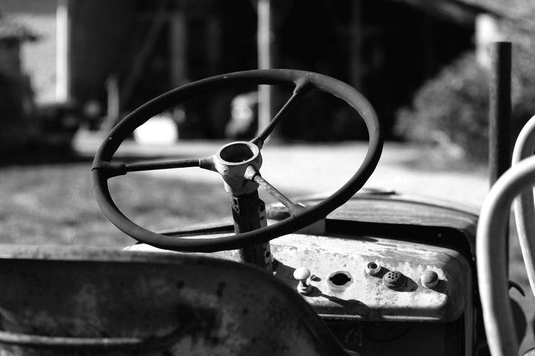 Steering wheel on old vehicle