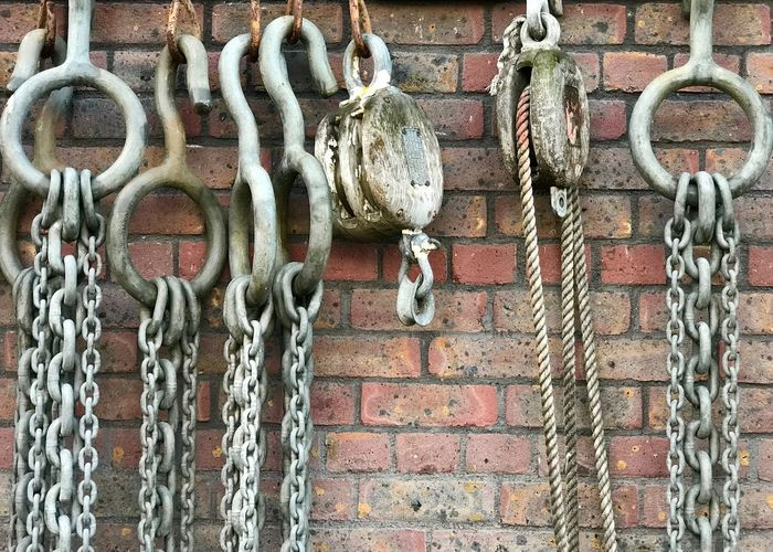 Docklands Dockside Chains Chain Ship Chain Wall - Building Feature No People Built Structure Architecture Day Metal Hanging Wall Brick