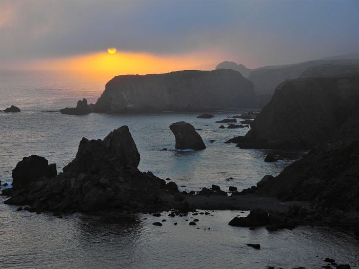 Sonoma County CA Beach Beauty In Nature Fog Horizon Over Water Idyllic Land Mountain Nature No People Non-urban Scene Outdoors Rock Rock - Object Rock Formation Scenics - Nature Sea Sky Solid Sonoma County Coast Stack Rock Sunset Tranquil Scene Tranquility Water