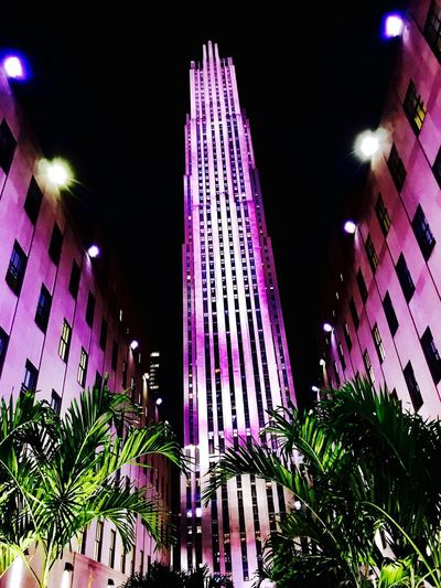 50 shades of purple. Night Illuminated Building Exterior Architecture Built Structure Low Angle View Purple 50 Shades Palm Tree Outdoors City No People Sky IPhoneography