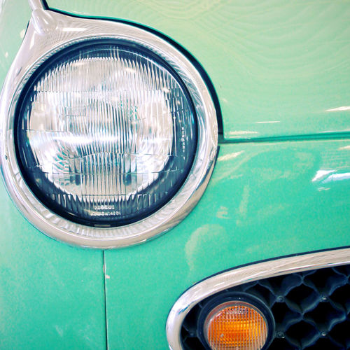 Land Vehicle Headlight Motor Vehicle Mode Of Transportation Car Transportation No People Day Green Color Vintage Car Lighting Equipment Close-up Retro Styled Metal Outdoors Blue Focus On Foreground Stationary Reflection Turquoise Colored Chrome Automobile