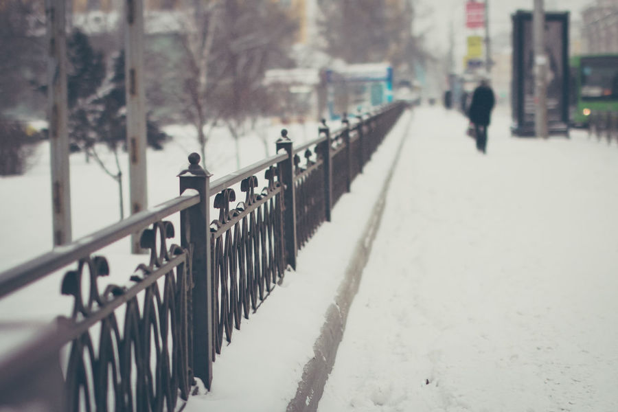 Krasnoyarsk Russia Cold Temperature Day Fence Outdoors Siberia Snow Street Winter