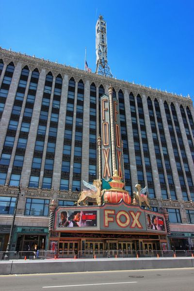 EyeEmNewHere Arts Culture And Entertainment Cityscape American Flag Cloud - Sky Building Exterior Architecture Lookingup Sky Skyscraper No People Outdoors Detroit, MI Fox Theatre Detroit Marquee Detroit Movie World Premiere Neon Wide Angle Neon Life