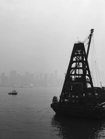 Outdoors Water Transportation Mode Of Transport Waterfront Architecture Built Structure Sky Nautical Vessel Sea City Spring Urban Geometry Foggy Day Foggy Light And Shadow Victoria Harbour Building Exterior Day Black & White Black And White