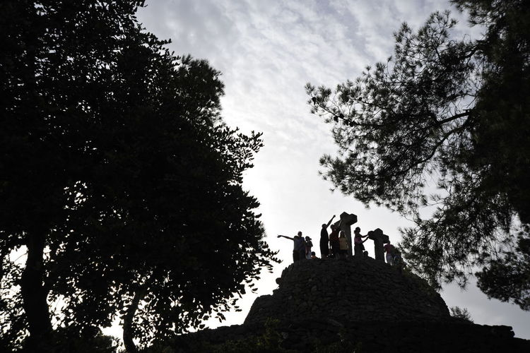 Low angle view of silhouette people standing by trees against sky