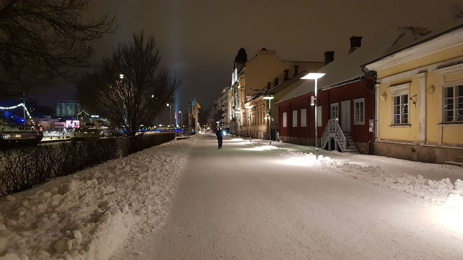 Snow Turku Night Illuminated Built Structure Architecture Outdoors City Building Exterior HUAWEI Photo Award: After Dark