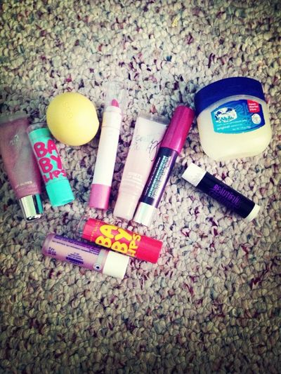 All the lip products in my purse