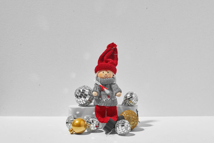 Christmas decoration on table against white background