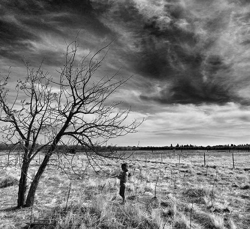 Monochrome Portrait ...Orchard Contrast Blackandwhite Kids Family Almondtree Desolate Desolation Drought Wintersca