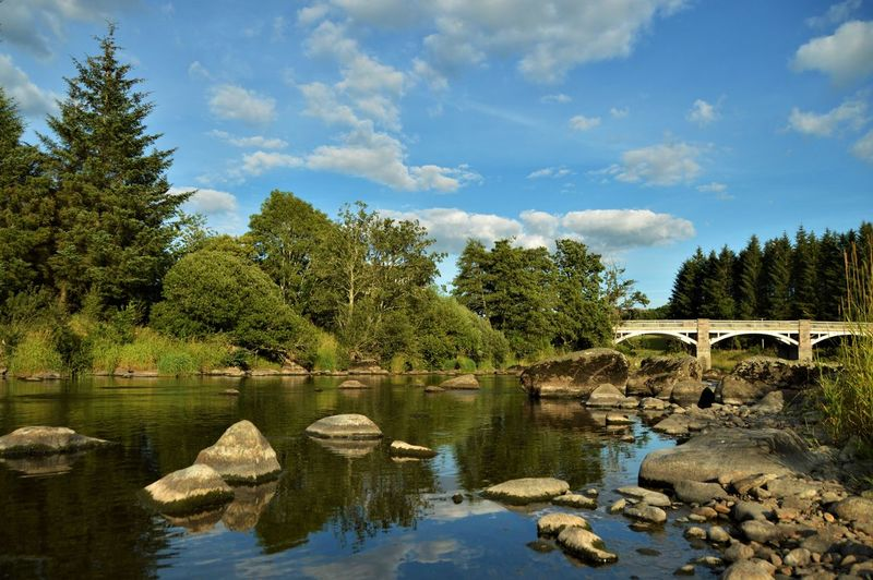 River Deveron, Rothiemay, Scotland Reflection Rothiemay Scotland Tranquility Blue Sky Bridge Countryside Landscape Outdoors Peaceful Reflections In The Water River Summer Water