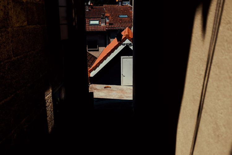 Shadow of man holding window on building