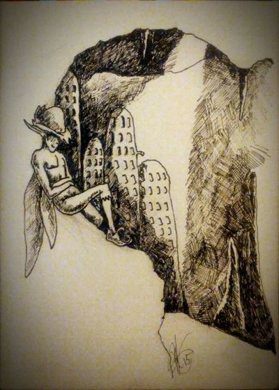 Ink Sketch Welcome to faerie cavern! Fantasy Drawing Art Faeries  Fae Faery Dwelling Lightandshadow Cavern