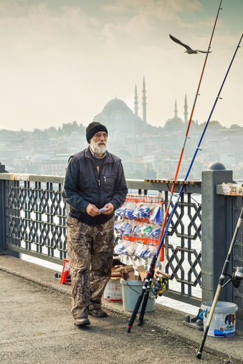 Adults Only Blue Mosque Bridge City Fisherman Fishing Front View Galata Galata Bridge Istanbul Istanbul Turkey Men Outdoors People Sky Standing Turkey Adventures In The City