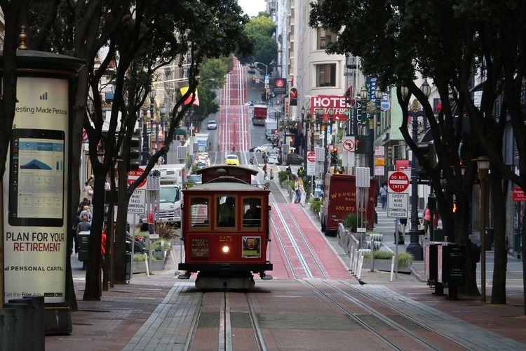 Tram On Street In City