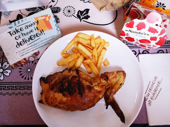 Too lazy to go call and delivered! Periperi PeriPeriChicken Nandos Nandosmalaysia Healthyfood Deep Fried  Plate Directly Above Fast Food Table High Angle View Close-up Food And Drink French Fries Serving Size Temptation