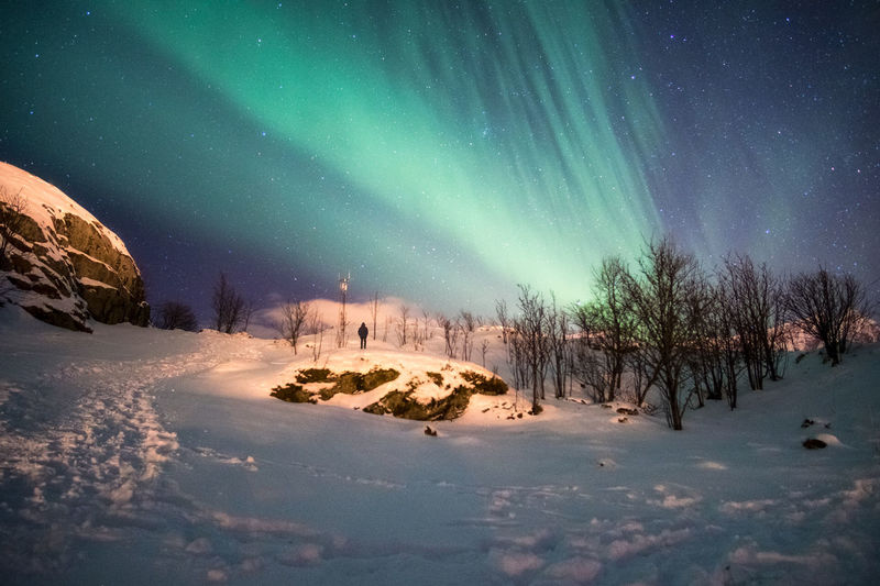 Scenic view of snow covered landscape against sky at night