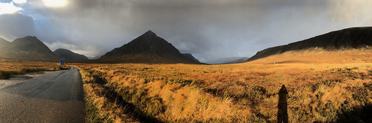 Autumn Bracken Buchaille Etive Mor Glencoe Beauty In Nature Buchaille Day Mountain Mountain Range Nature No People Outdoors Road Scenics Sky The Way Forward Tranquility