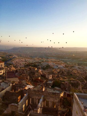 Architecture Beauty In Nature Cappadocia City Cityscape Day Flying Göreme Hot Air Balloon Hotairballoons Kappadokya Morning Mountains Nature No People Outdoors Residential Building Sky Turkey