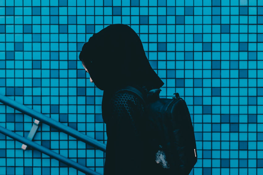 // framed // AMPt_community Backgrounds Black Color Blue Close-up Day Frame Frame It! Girl Japan Lifestyles Modern Part Of Shootermag Symmetrical Symmetry Tile Unrecognizable Person