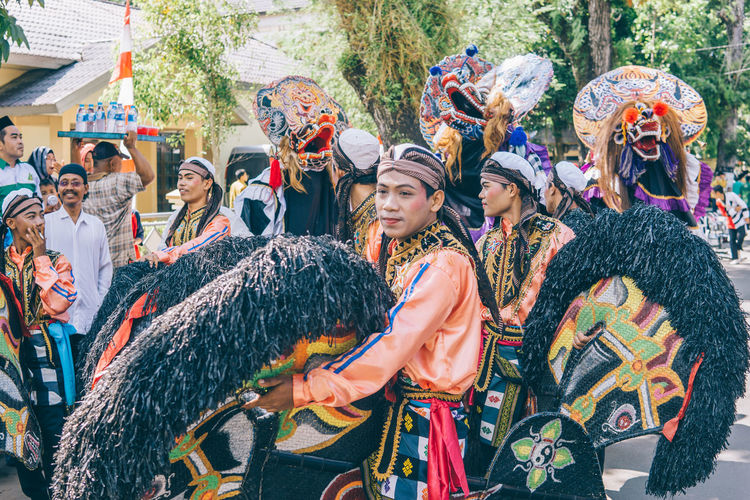 Kuda Lumping and Barongan dance Adult Adults Only Artist Arts Culture And Entertainment Carnival Carnival Crowds And Details Celebration Crowd Dancing Day Event EyeEmNewHere Fun Mature Adult Men Mid Adult Outdoors Parade People Performance Street Photography Traditional Clothing Traditional Culture The Street Photographer - 2017 EyeEm Awards The Photojournalist - 2017 EyeEm Awards
