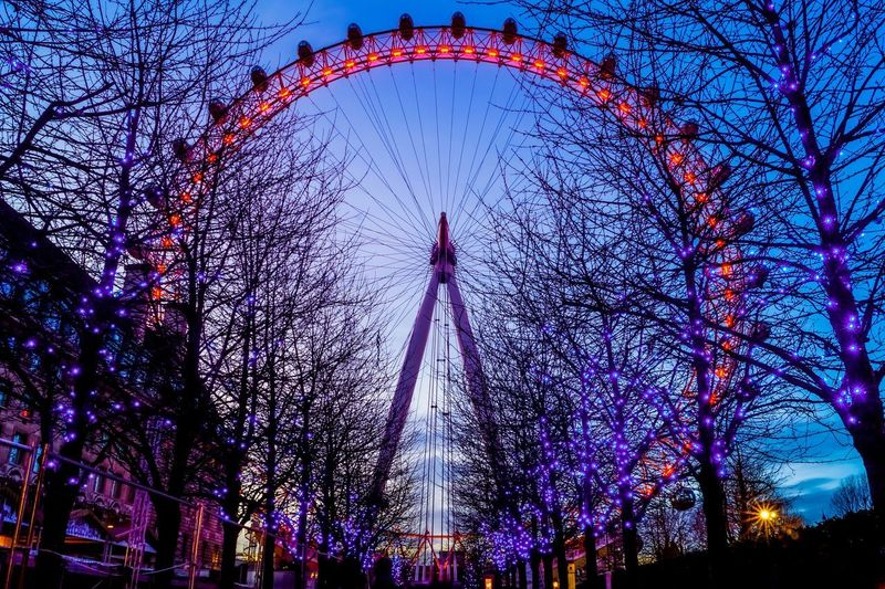 The London Eye at Christmas in London, UK Giant Wheel Lights Uk Destination Travel London Thelondoneye EyeEmNewHere Low Angle View Built Structure Architecture Illuminated Sky Tree Decoration No People Night Pattern Arts Culture And Entertainment Travel Destinations Christmas Lights Building Exterior Celebration Outdoors Multi Colored