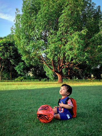Little baby Kids Still Life ASIA School Background Son Growth Playing Toy Tree People Relaxing Love Childhood Child Grass Plant Real People Green Color One Person Leisure Activity Boys Nature Full Length Field Lifestyles Innocence Sport Playing Day
